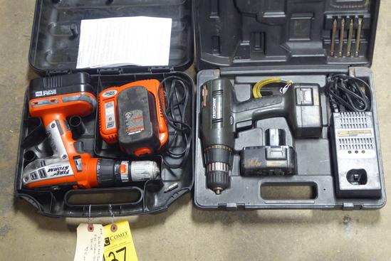 Craftsman 14.4V & Black & Decker 18V Cordless Drills