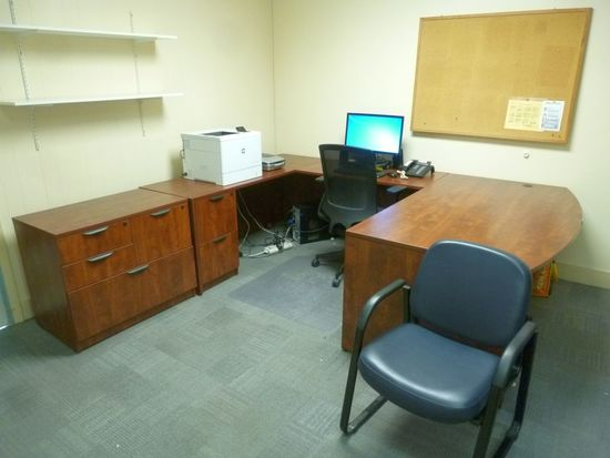 Laminated Desk w/Return, (2) File Cabinets, Etc.