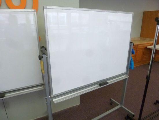 Metal Frame 2-Side Dry Erase Board on Wheels, 4'