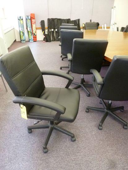 Black Upholstered Tilt/Swivel Arm Chairs
