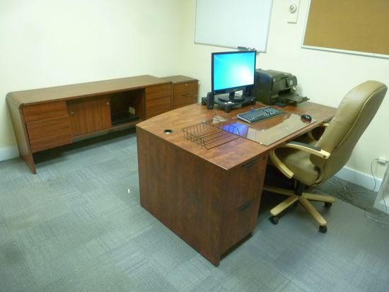 Laminate Boat Desk, 6' w/Chair, Credenza, Etc.