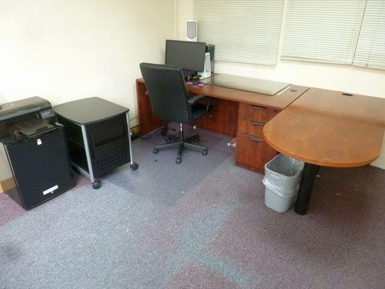 "Laminate Single Pedestal Desk 71"", Round Nose Table, Etc."
