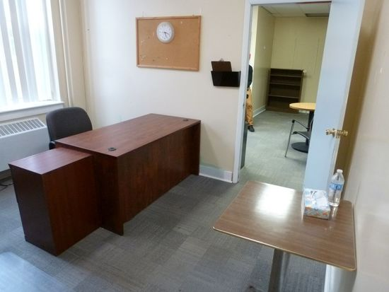 Single Pedestal Laminated Desk, 5', Office Chair, Etc.