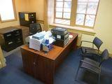 Laminate Double Pedestal, 6', Upholstered Mesh Back Swivel Office Chair, Etc.