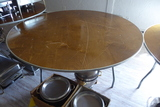 Round Wood Folding Tables, 6'
