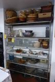Contents of Rack: Glass Bowls, Baskets, Plates, Etc.