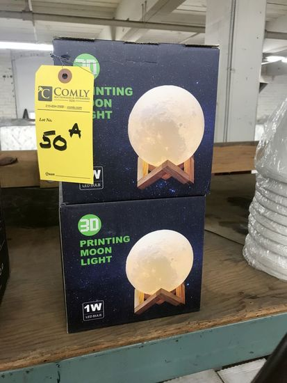 Rechargeable 3-D Printed LED Moon Lights, Color Changing