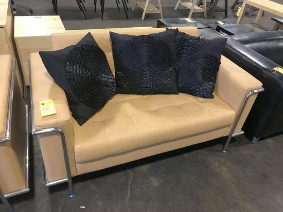 Leather Love Seat, Tan