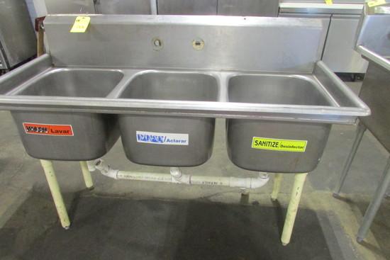 Triple Bowl Stainless Steel Sink