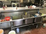 Stainless Steel 3-Bay Sink w/Faucet