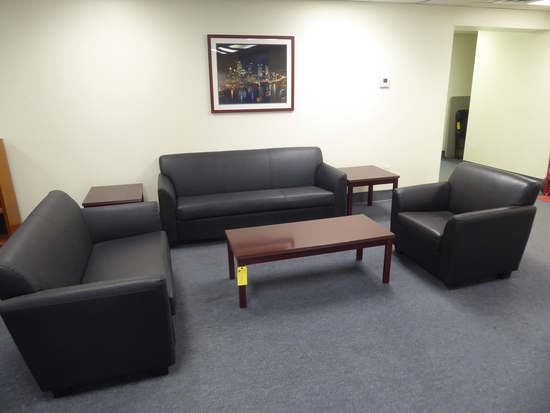 Couch, Loveseat, Chair, (3) Wood Tables & Framed Picture (Lot)