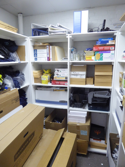 Contents of Room: Reams of Paper, Office Supplies, Dymo Label Maker, Time Clock,Etc. (Lot)