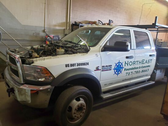 2014 Dodge Ram 5500 Heavy Duty Single Axle Flatbed Truck w/Utility Boxes, Crew Cab