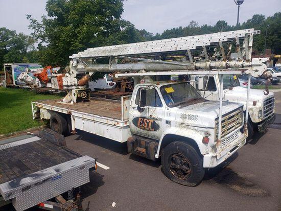 1988 GMC Single Axle Crane Truck, 18' Steel Crane Body w/Wood Deck, Sky Hook SP85 Rear Mounted Crane