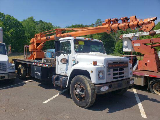 1984 International 1954 Single Axle Flatbed Crane Truck, Diesel, Manual Transmission, Odometer Reads