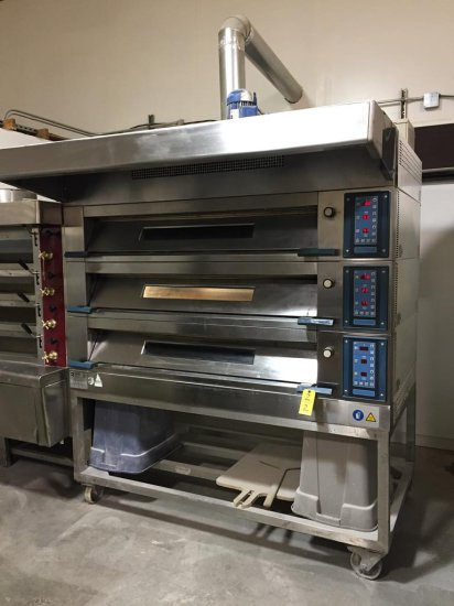 2003 POLIN STRATOS 3STA MODULAR 3-DECK 3PH ELECTRIC OVEN WITH HOOD