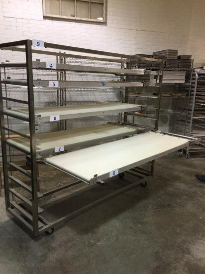 STAINLESS STEEL 10-SLOT BELT LOADER RACK W/ SWING OUT ARMS