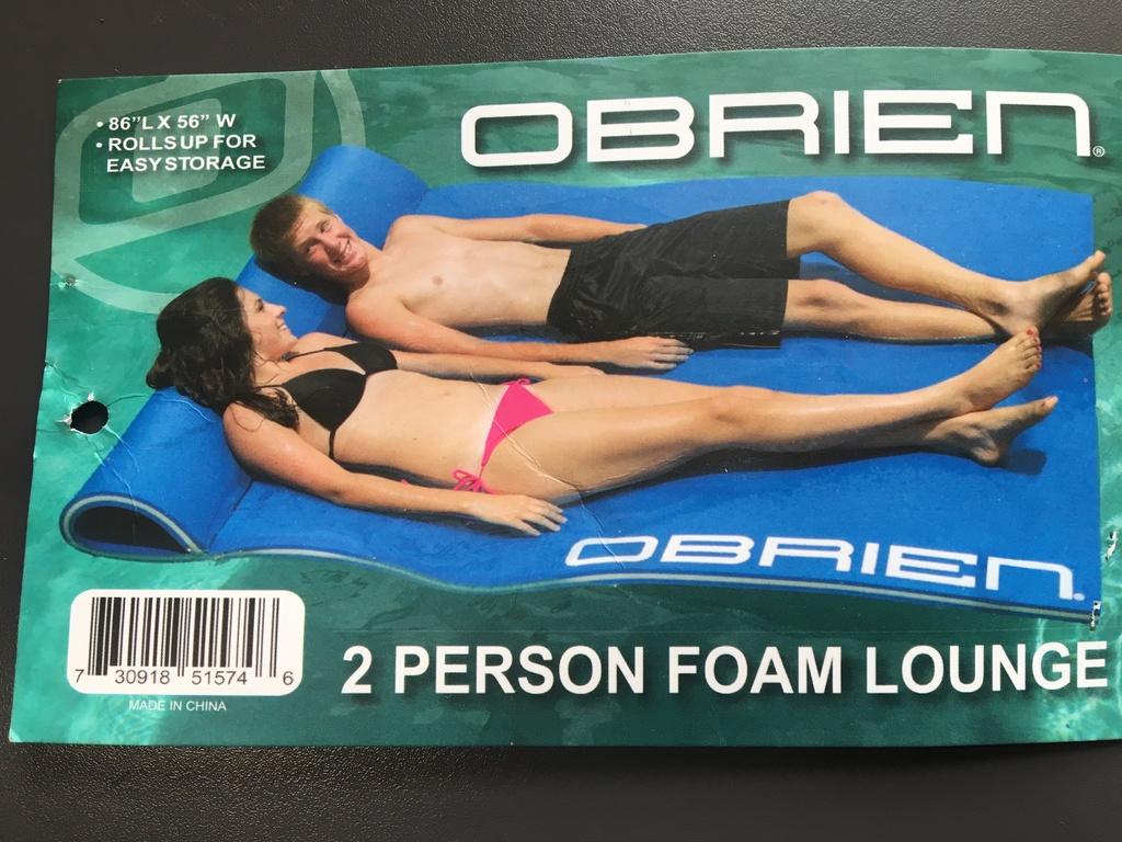 O'BRIEN 2-PERSON FOAM WATER FLOAT - $80 VALUE