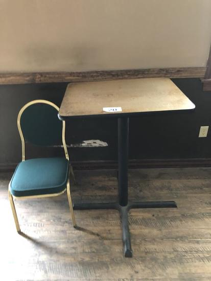"""LOT: 30"""" ROUND HIGH-TOP TABLE & SIDE STACK CHAIR"""