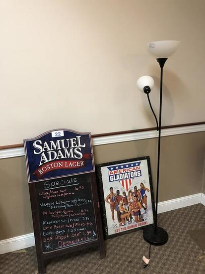 SAM ADAMS A-FRAME MENU BOARD, GLADIATOR POSTER & FLOOR LAMP