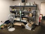 LOT: ASSORTED BANQUET SUPPLIES & SHELVING TO INCLUDE: