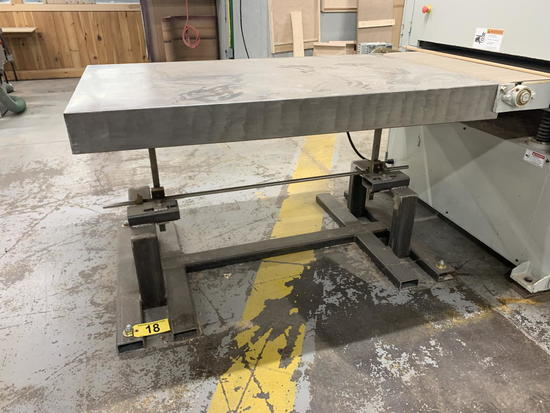 """SHOP BUILT STAINLESS STEEL 5'x37"""" ADJUSTABLE HEIGHT TABLE"""