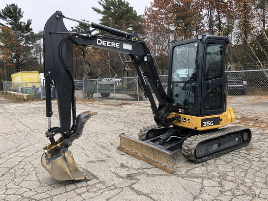 2014 JOHN DEERE 35G HYDRAULIC EXCAVATOR, ENCLOSED CAB