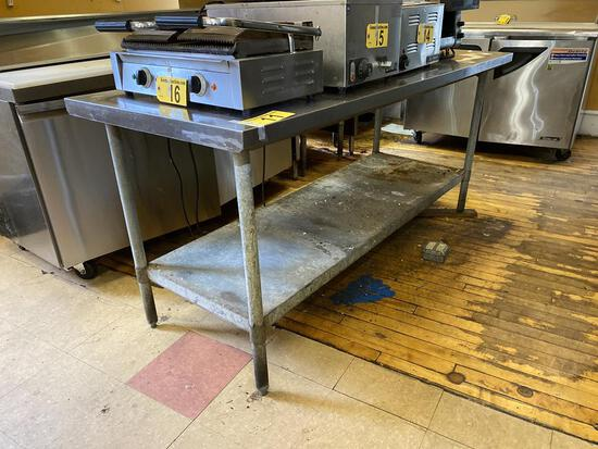 "6' X 30"" STAINLESS STEEL TABLE W/ LOWER GALVANIZED SHELF"