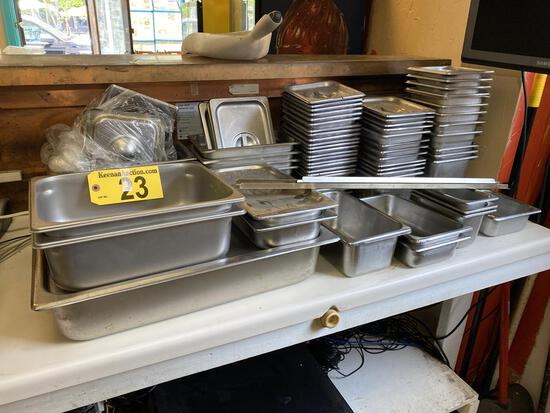 LOT: 66-ASSORTED SIZE STAINLESS STEEL INSERTS W/SOME LIDS