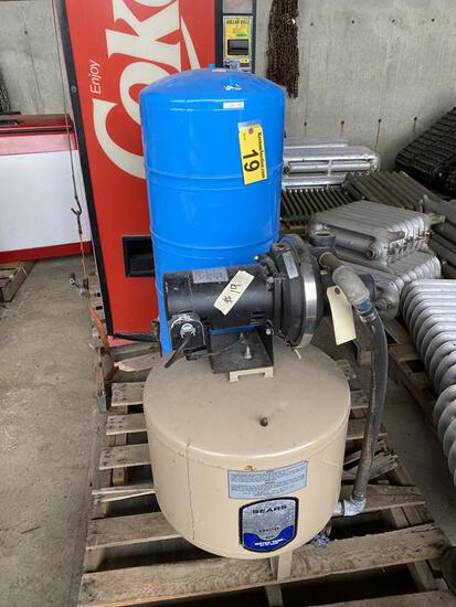 SEARS WATER PUMP SYSTEM, 1/2HP, 1PH, MDL. 390.251400 W/ 2-EXPANSION TANKS