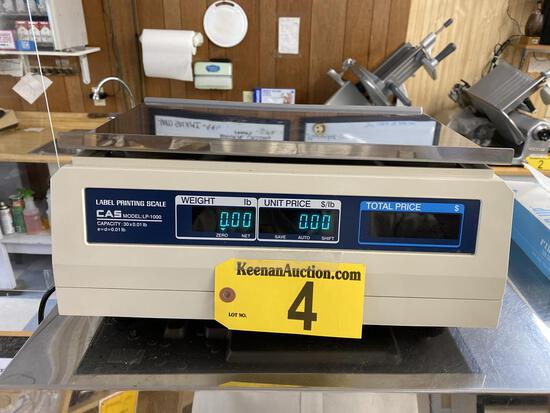 CAS MODEL LP-1000 30LB. LABEL PRINTING SCALE, S/N: PK09004149