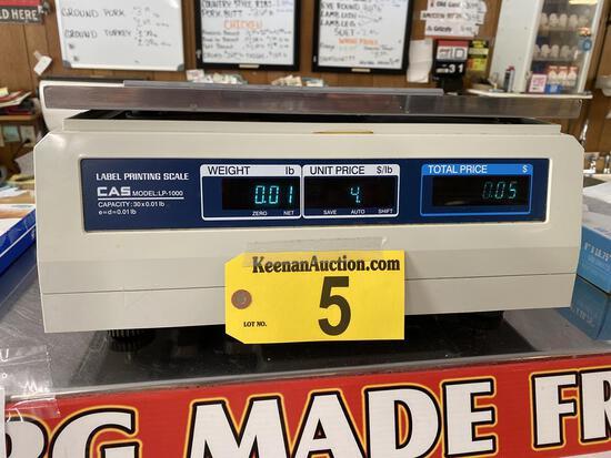 CAS MODEL LP-1000 30LB. LABEL PRINTING SCALE, S/N: PK07003768