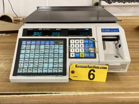 CAS MODEL LP-1000 30LB. LABEL PRINTING SCALE, S/N: PK06102375