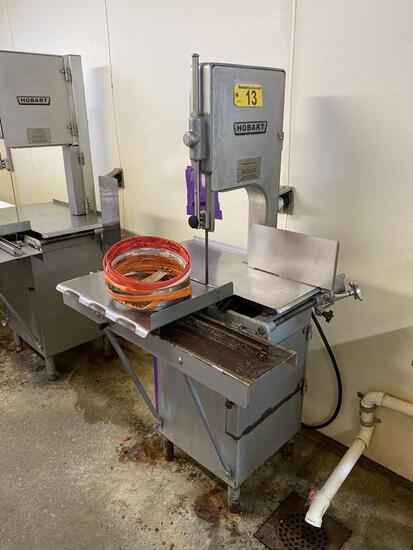 HOBART MODEL 5212 COMMERCIAL MEAT BAND SAW, W/ (6) SPARE BLADES, 2HP, 1PH, S/N: 27-168-732