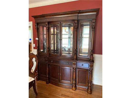 """UNIVERSAL FURNITURE BREAKFRONT CHINA CABINET, 73.5""""W X 84.5""""H X 20""""D, LIGHTED"""