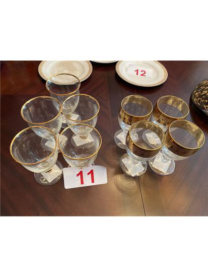 LOT OF (9) GOLD RIM GLASSES