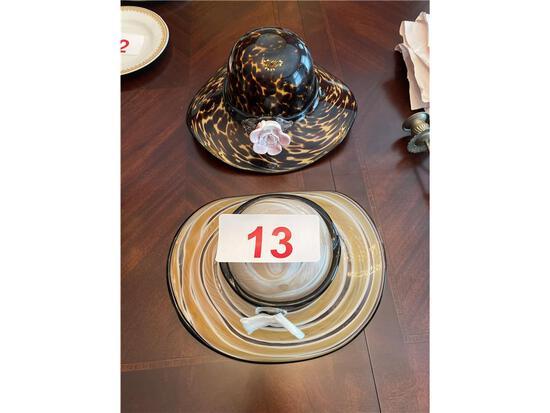 (2) GLASS DECORATIVE BONNETS