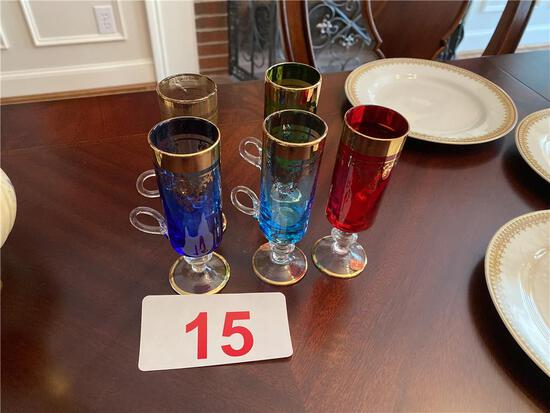 LOT OF (5) ITALIAN COLORED CORDIAL TALL CUPS W/ HANDLES, GOLD RIM