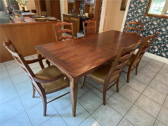 """ETHAN ALLEN 7-PIECE DINING ROOM SET, TABLE & 6-CHAIRS, 112""""L X 42""""W, 2-LEAVES"""