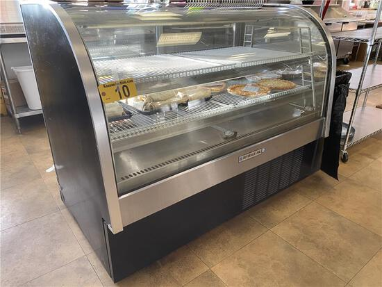 """BEVERAGE-AIR CDR5/1-B-20 REFRIGERATED BLACK CURVED GLASS DISPLAY CASE, 61""""L, S/N: 9910490"""