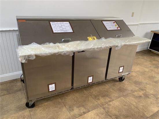 """BEVERAGE-AIR SPE72-30M S/S 72"""" SANDWICH PREP TABLE, S/N: 11100251, (UNIT WON'T MAINTAIN TEMP)"""