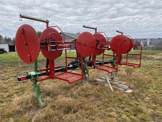 LOT: 2-MACHINES; (1) 3-ROW MULCH WRAPPER & TOOL BAR  (1) 3-ROW DRIP TAPE APPLICATOR,NO TOOL BAR