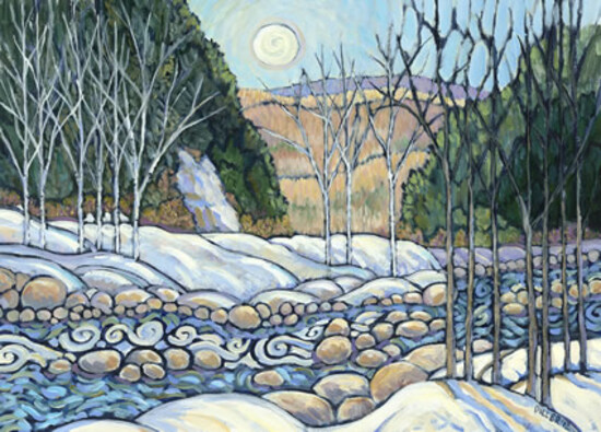 """CLAUDIA DILLER MATTED & FRAMED PRINT, """"HEADING NORTH ALONG THE CARRABASSETT RIVER"""" - $300 VALUE"""