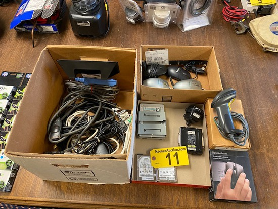 LOT OF COMPUTER MICE, SCANNERS, CORDS & COMPONENTS