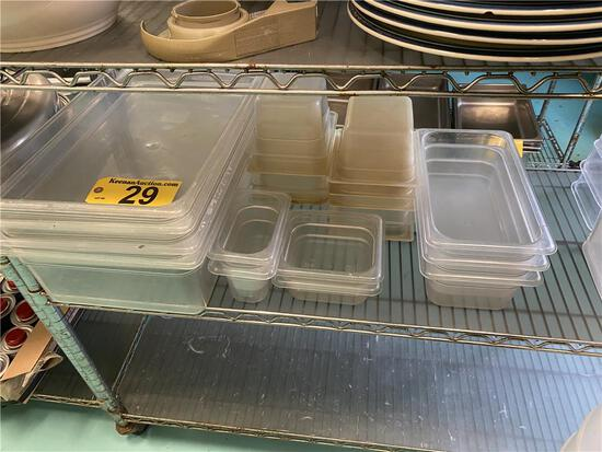 LOT: (21) ASSORTED SIZE CAMBRO PLASTIC INSERTS & CAMBRO CONTAINERS