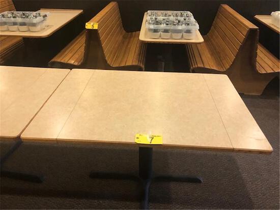 "DROP-LEAF TABLE, SINGLE PEDESTAL, LAMINATE TOP, OAK EDGE 33.5""X33.5"" TO 48""X33.5"""