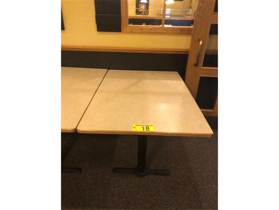"DOUBLE PEDESTAL TABLE, LAMINATE TOP, OAK EDGE 47.5""X33.5"""
