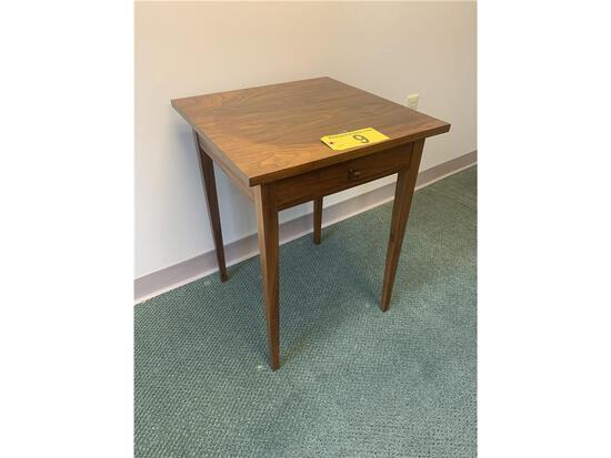 2016 THOS. MOSER SQUARE END TABLE, ONE DRAWER SIGNED T.D.L.