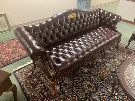 """CLASSIC LEATHER INC. TUFTED, TOP GRAIN LEATHER SOFA, 85"""", BALL & CLAW LEGS"""