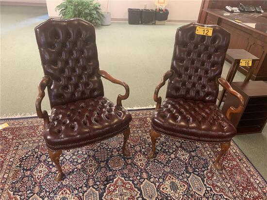 TUFTED TOP GRAIN LEATHER UPHOLSTERED SIDE ARM CHAIRS